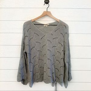 Entro grey scalloped bell sleeve tie side sweater